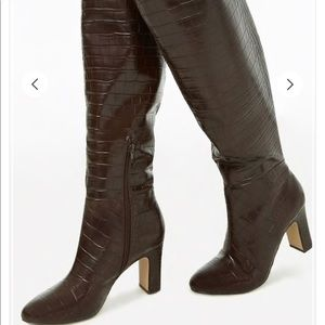 Forever 21 faux crocodile over the knee boots